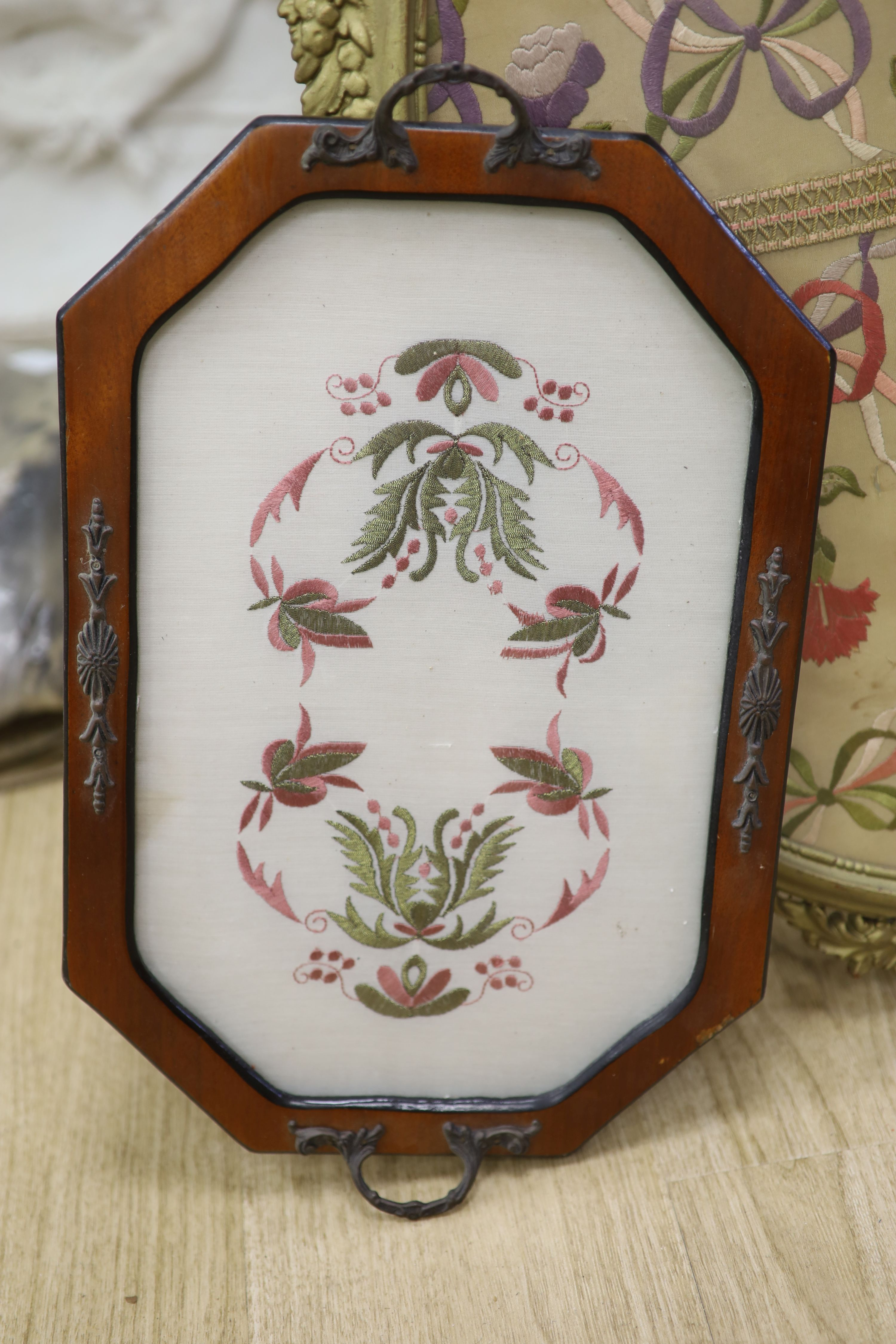An oval needlework panel and another, largest 39 x 59cm - Image 2 of 4