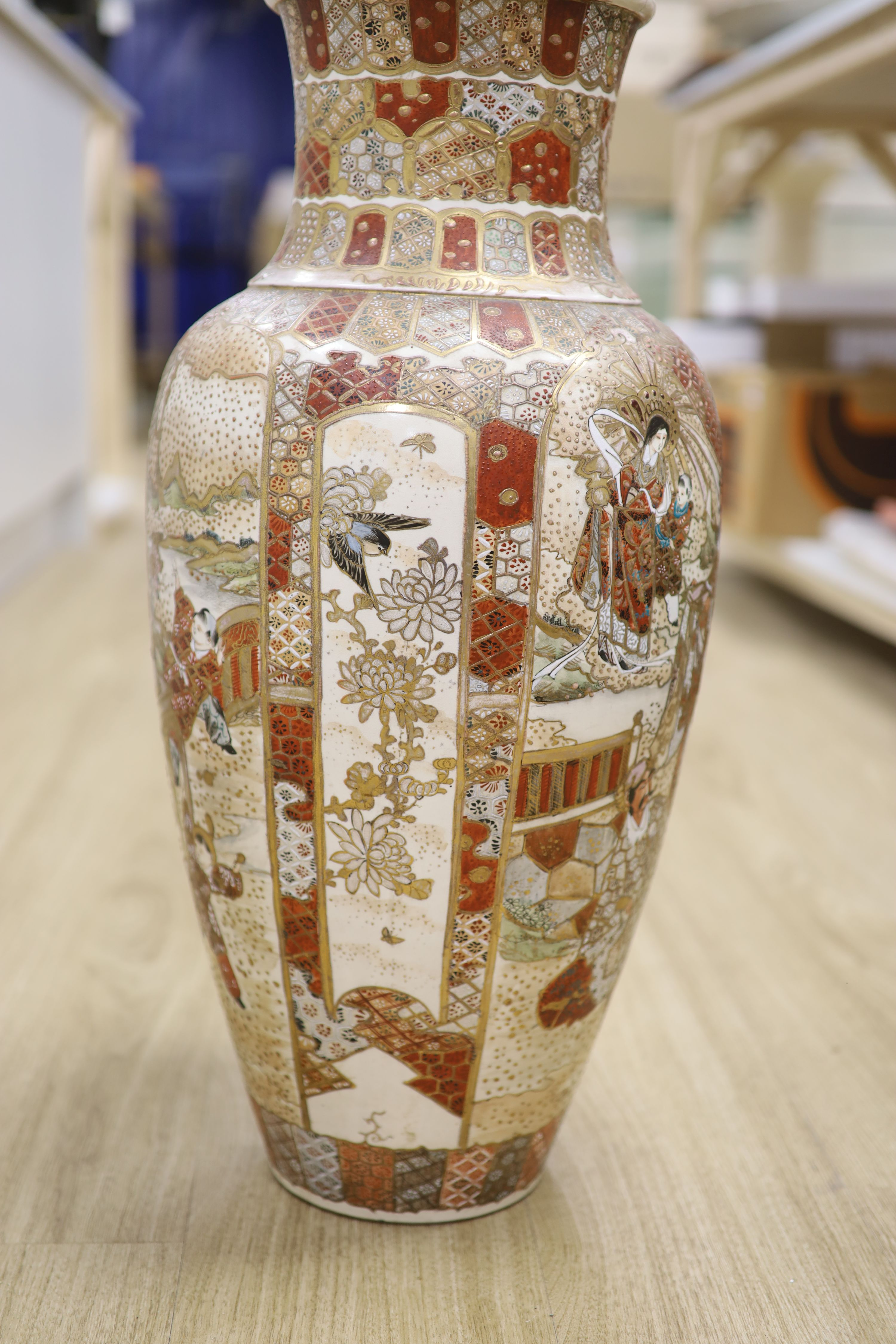 A large Satsuma pottery vase, height 63cm - Image 3 of 8