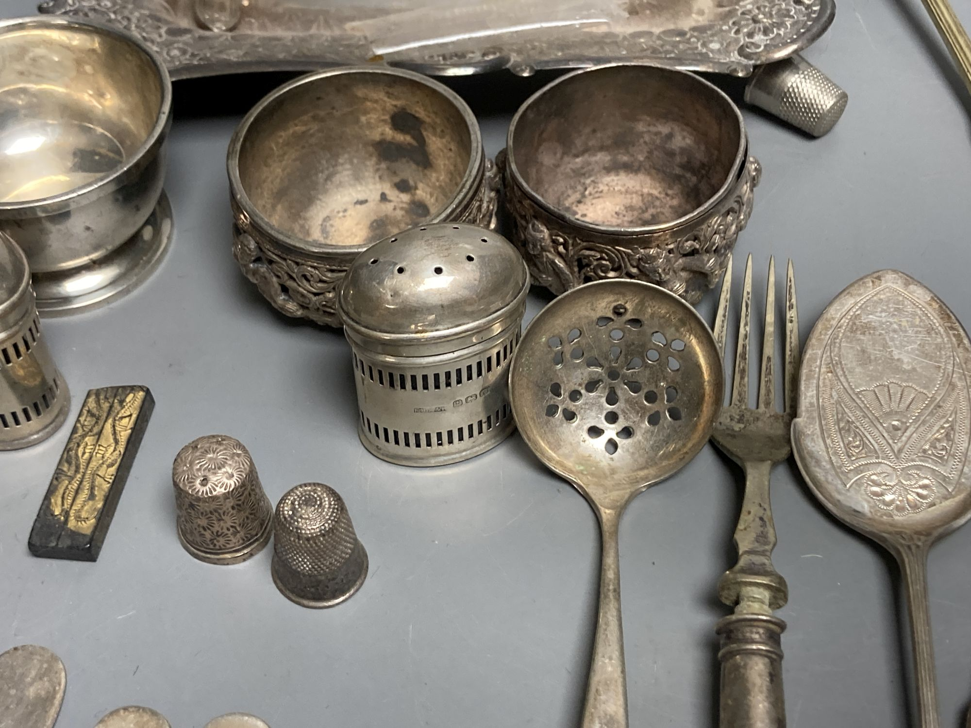 Four silver condiments, two silver thimbles, two Indian? salts and assorted plated flatware etc. - Image 4 of 6
