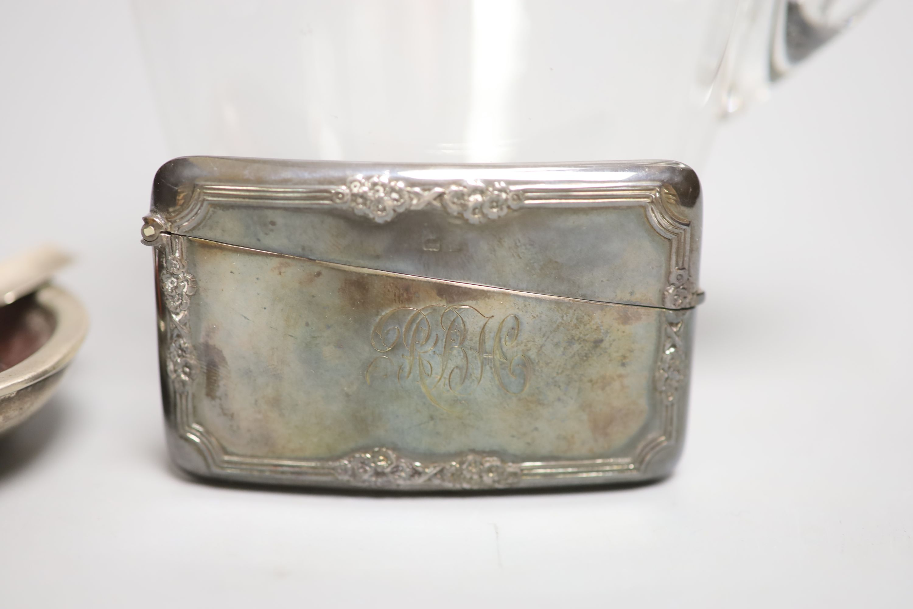 A late Victorian silver mounted glass decanter and stopper, London, 1893, 21.5cm, a silver card case - Image 3 of 4