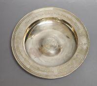 A modern silver 'Armada' dish, William Comyns & Sons Ltd, London 1979, with engraved inscription,