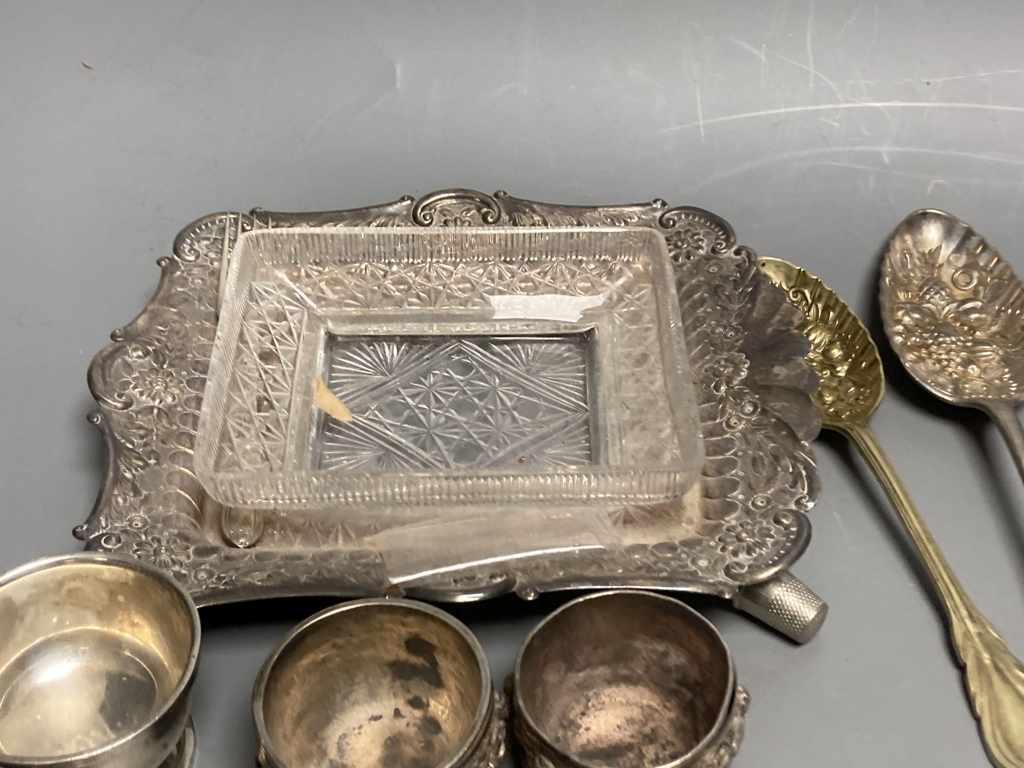 Four silver condiments, two silver thimbles, two Indian? salts and assorted plated flatware etc. - Image 3 of 6