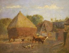 Attributed to Anton Mauve, oil on board, Farmyard with cattle and chickens, signed, 23 x