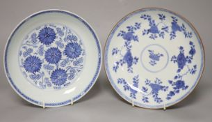 Two Chinese Kangxi blue and white dishes, one with Batavia cafe-au-lait glaze to the underside,