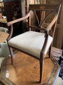 A 19th century Dutch inlaid elbow chair, width 59cm, depth 50cm, height 89cm
