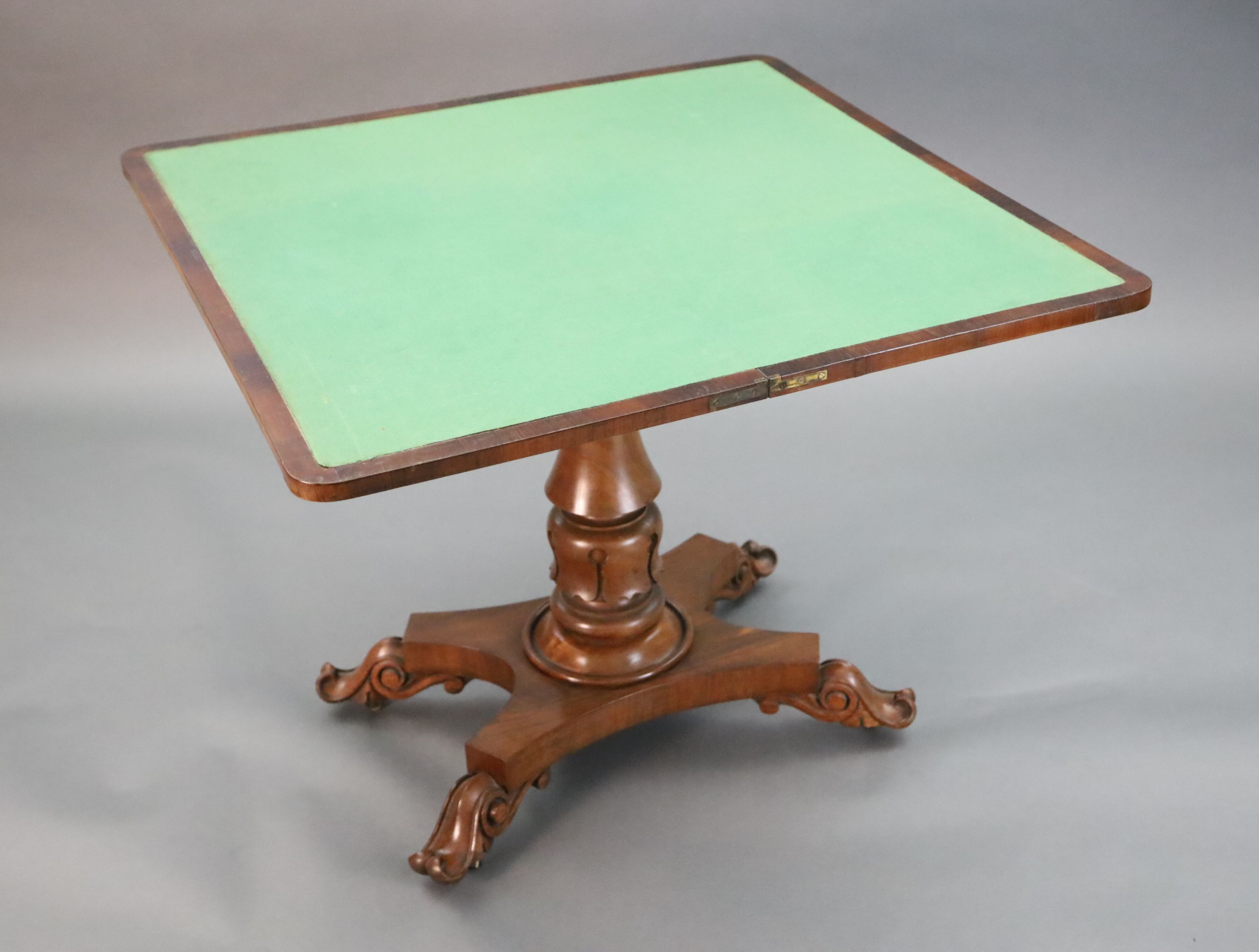 A William IV faded rosewood folding card table, with D shaped folding top, on turned and carved stem - Image 2 of 6