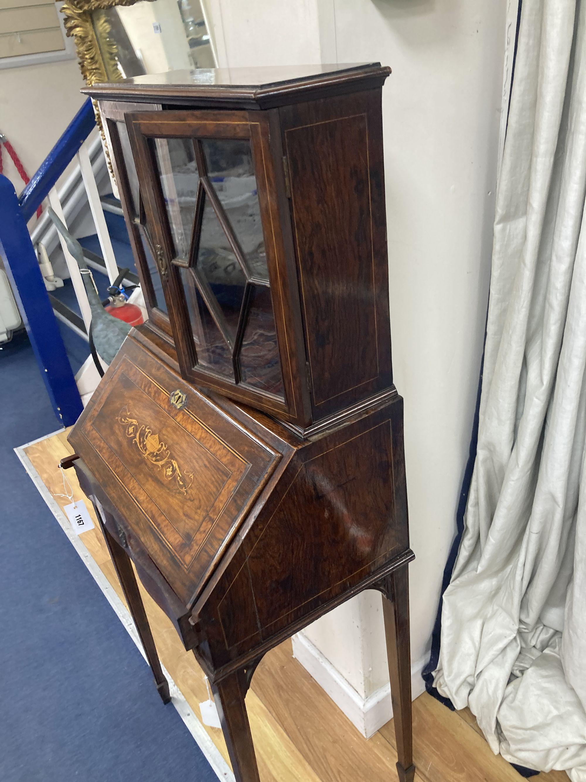 A late Victorian inlaid rosewood bonheur du jour, width 51cm, depth 34cm, height 129cm - Image 2 of 3