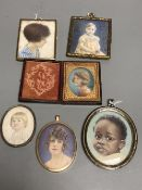 Phyllis Cooper (1895-1988), a collection of miniature portraits, circa 1920, watercolour on ivory,