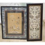 A pair of Chinese sleeve panels (single black frame), width 16cm, height 50cm and another, larger