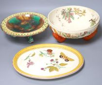 A Wedgwood majolica dolphin footed dish, a lobster footed bowl and an oval tray (3)