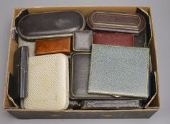 Twenty assorted jewellery and cutlery boxes including a gilt tooled leather box by Mappin & Webb.