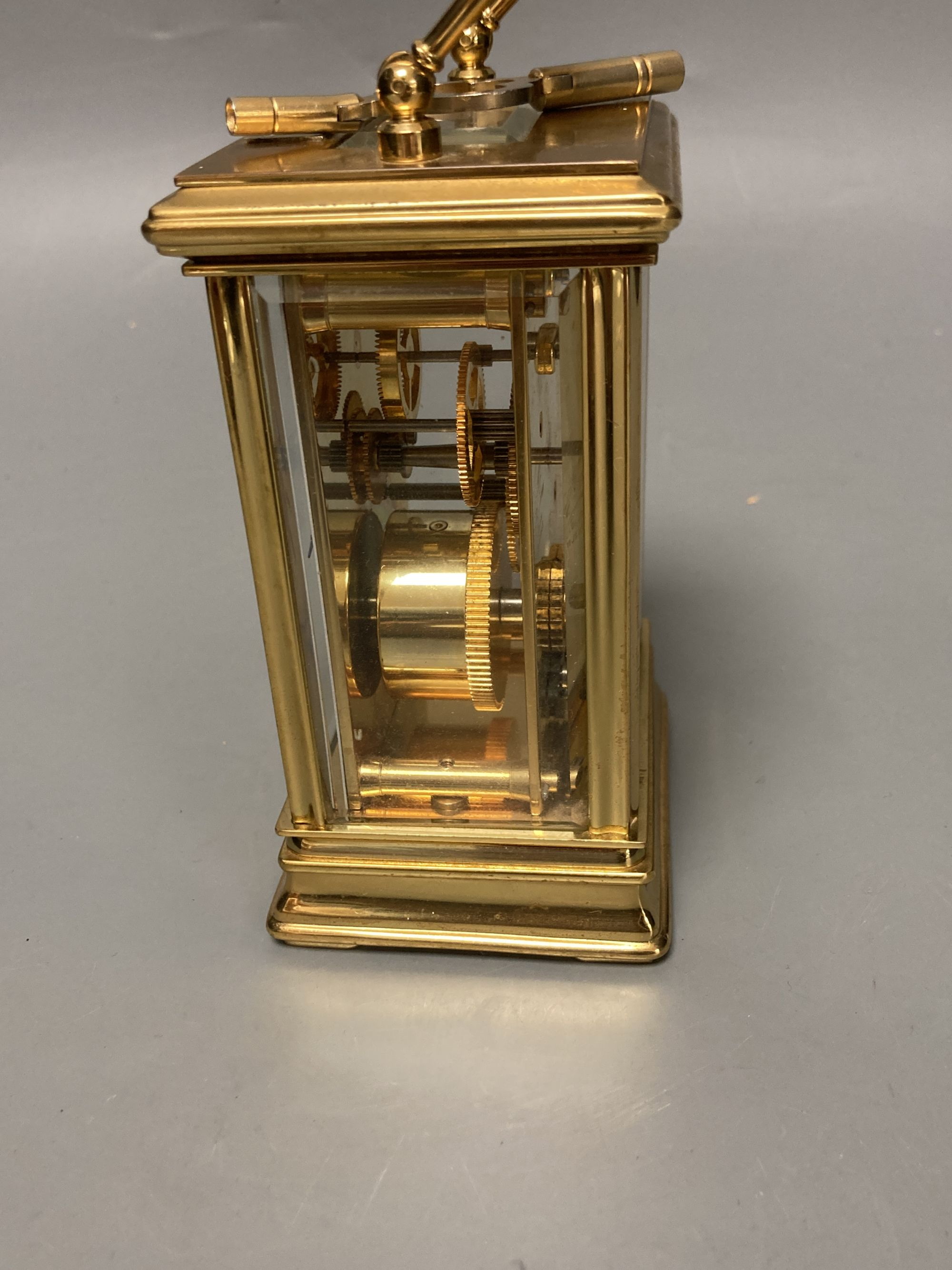 A modern French brass cased eight day presentation carriage timepiece - Image 3 of 5
