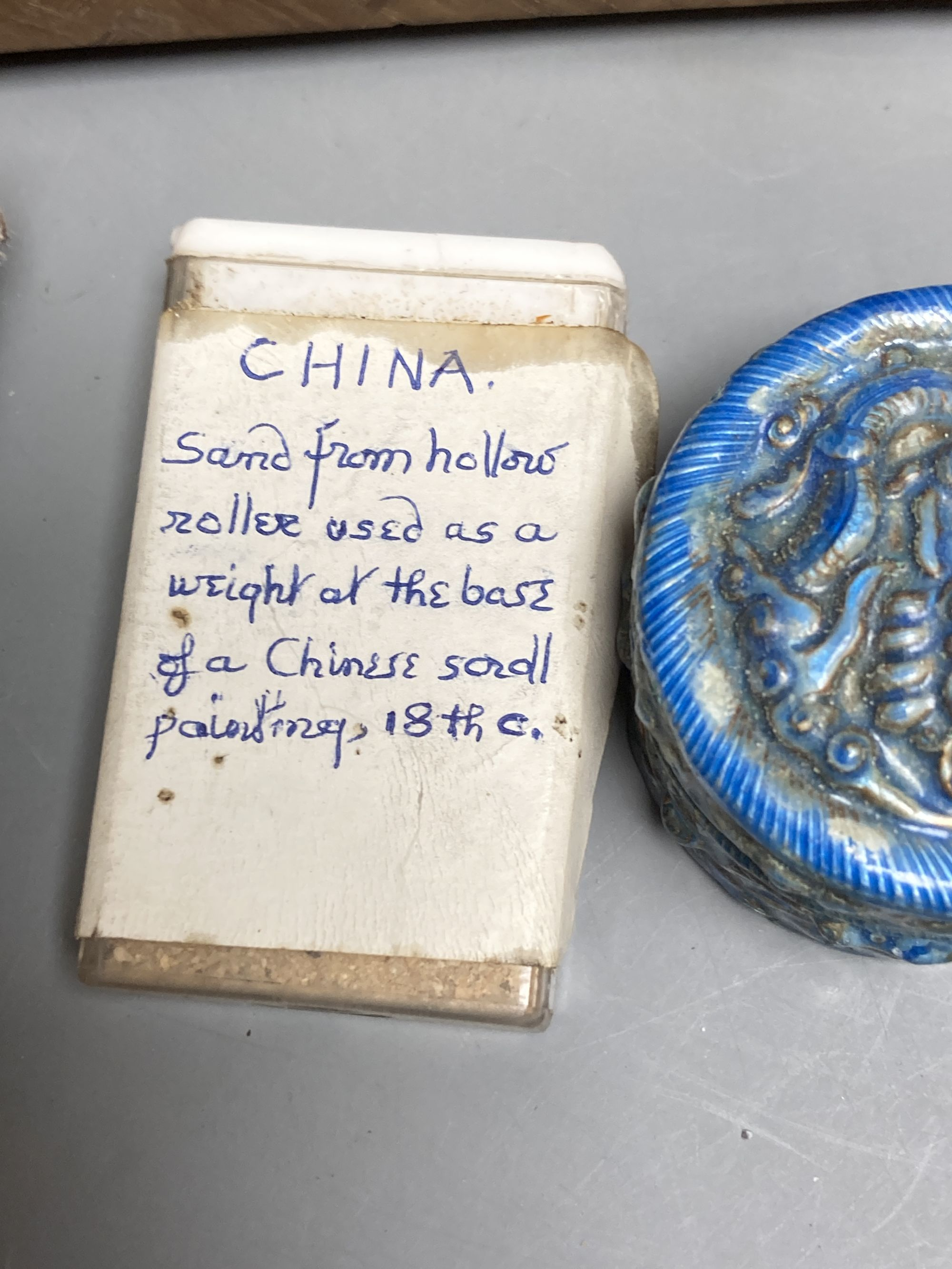 A group of Chinese and Japanese objects, 19th/20th century, including an inscribed ink box an - Image 3 of 17