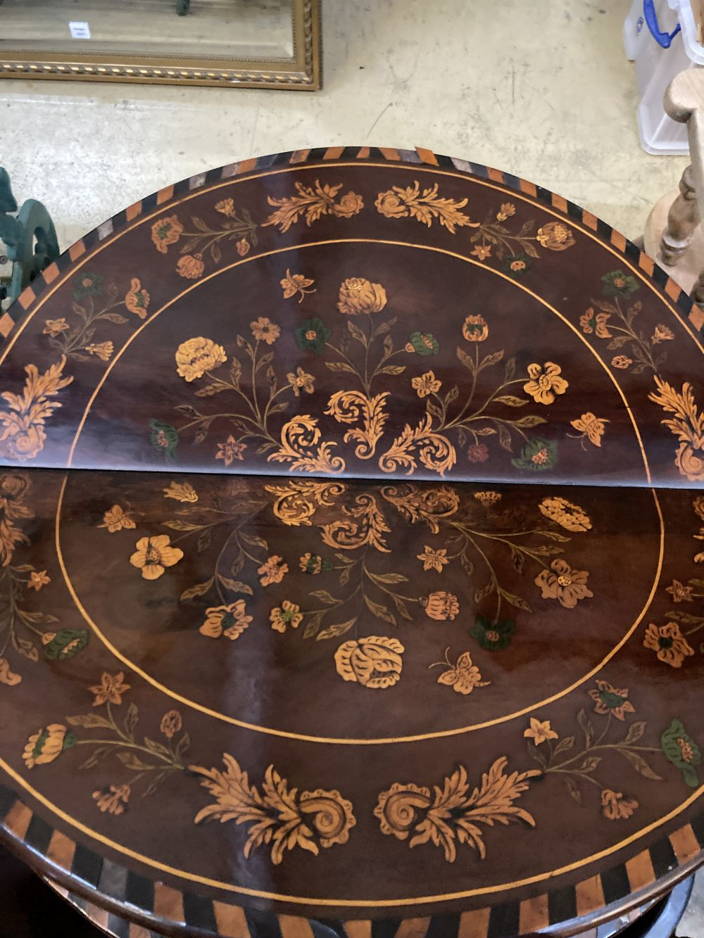 A near pair of 18th century Dutch floral marquetry walnut triple folding tea and card tables, larger - Image 4 of 7