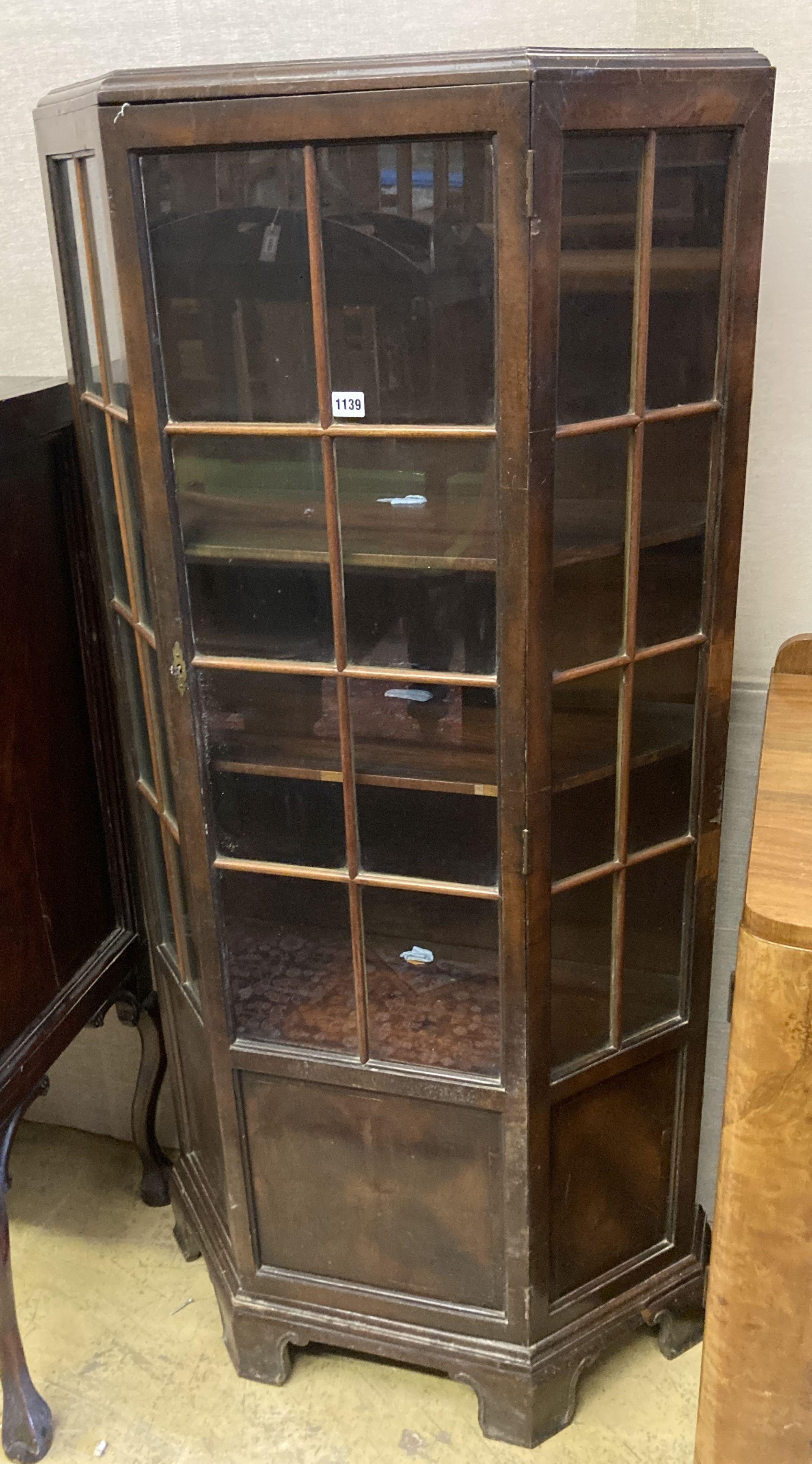 An early 20th century walnut display cabinet, width 78cm depth 30cm height 161cm