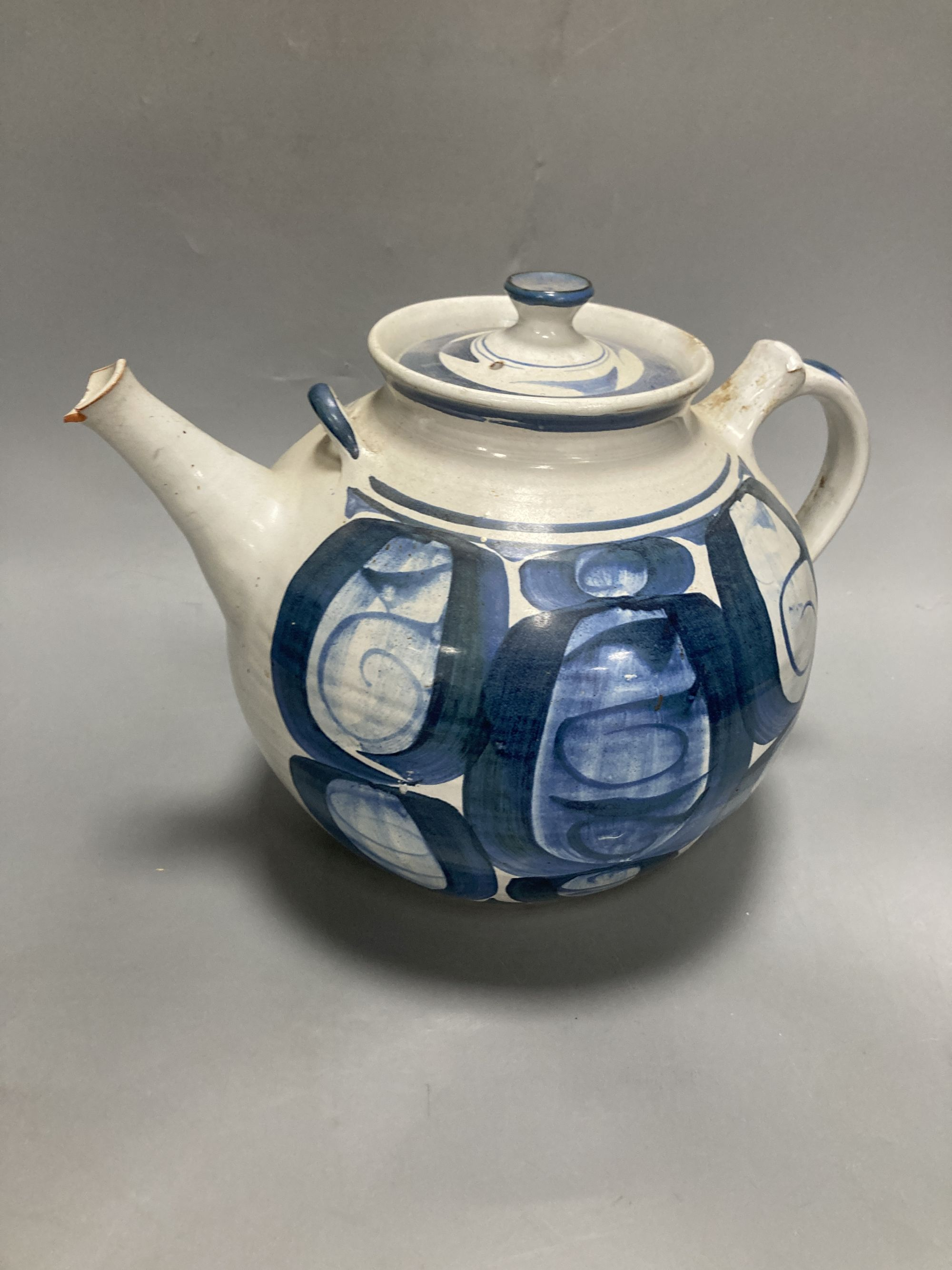 Two Studio pottery teapots, largest 25cm - Image 2 of 4
