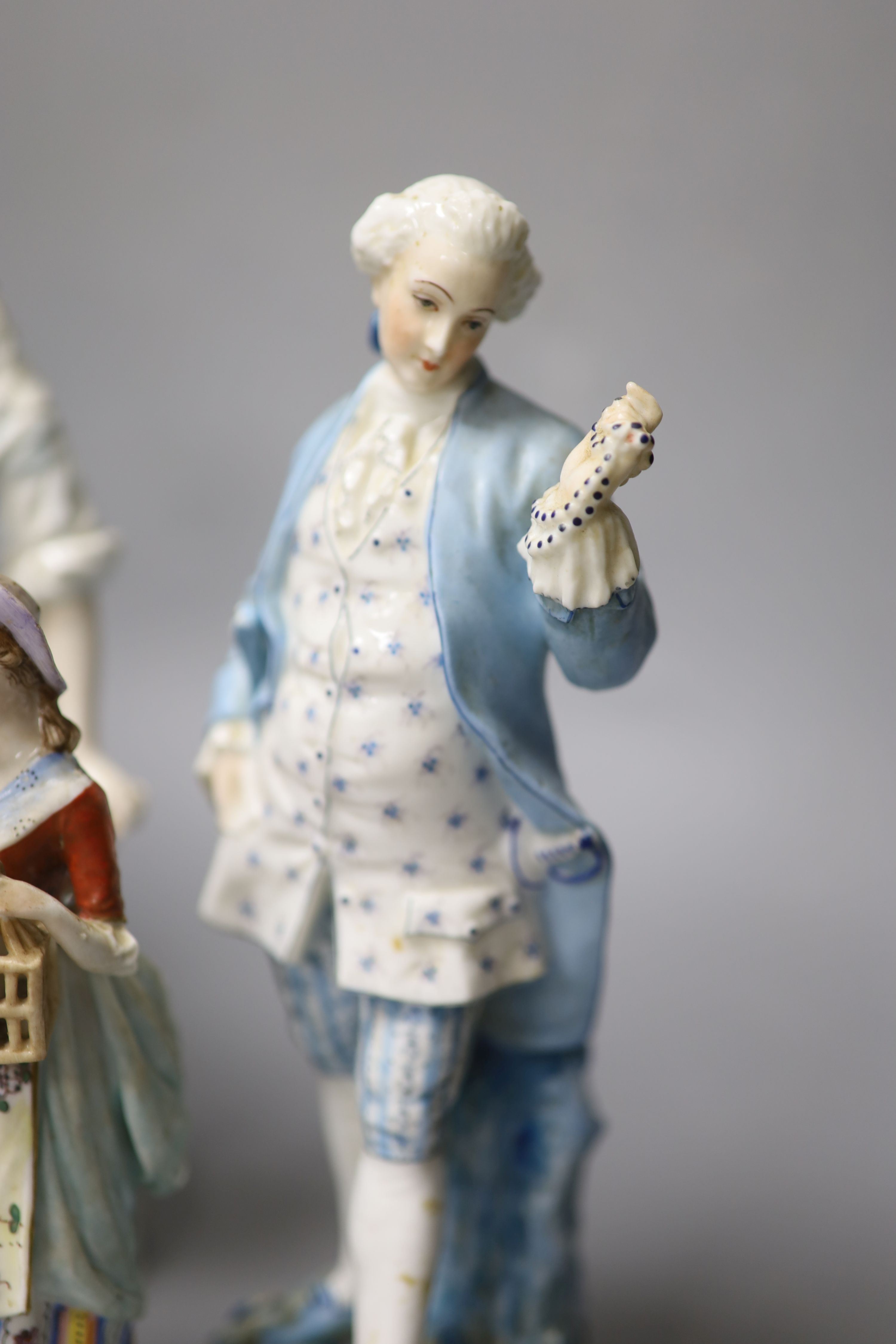 Six Continental porcelain figures, tallest 23cmCONDITION: Tall enamelled female - three of her - Image 4 of 6