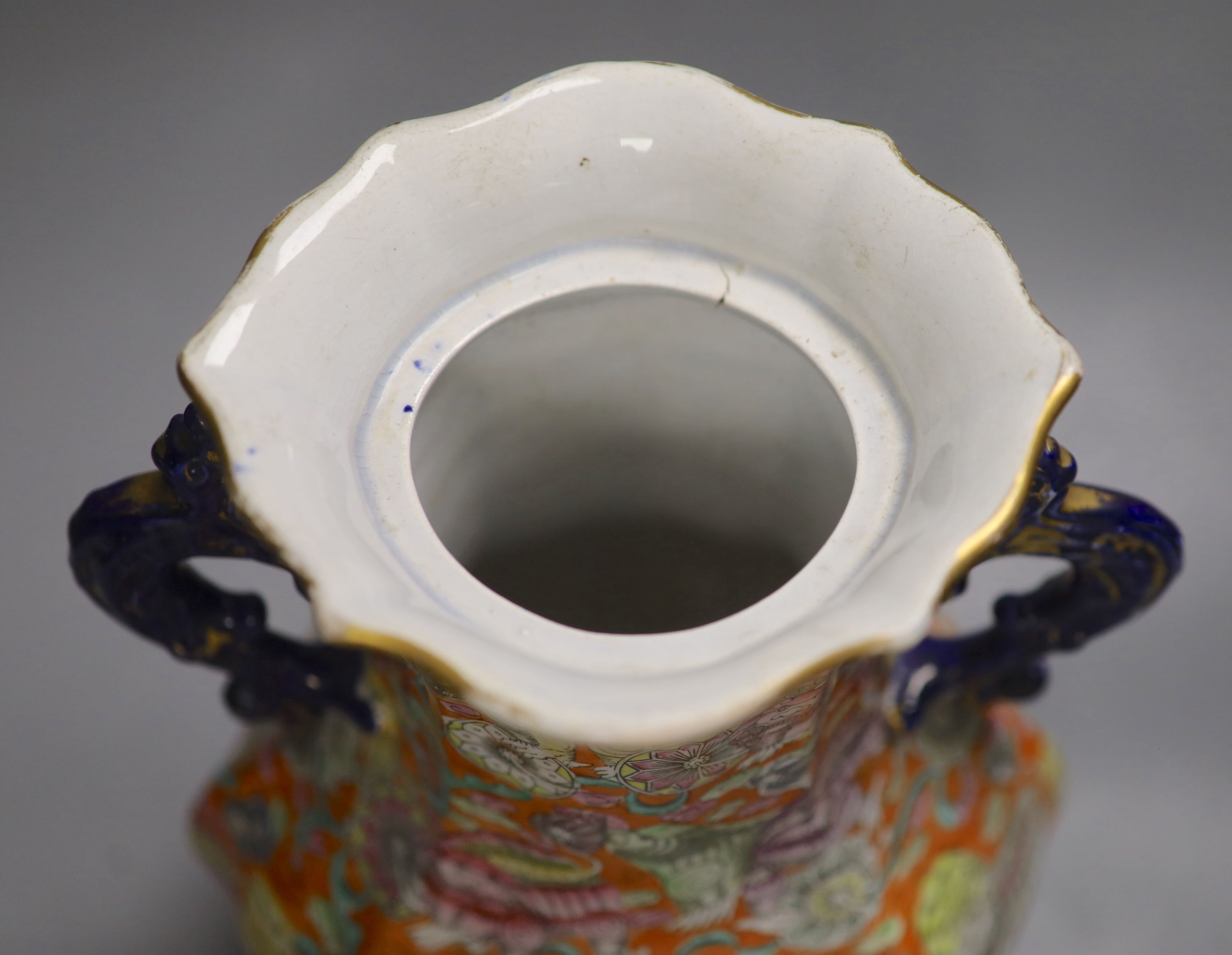 A 19th century chinoiserie ironstone vase and cover, height 41cm (a.f.)CONDITION: Cover modified, - Image 4 of 5