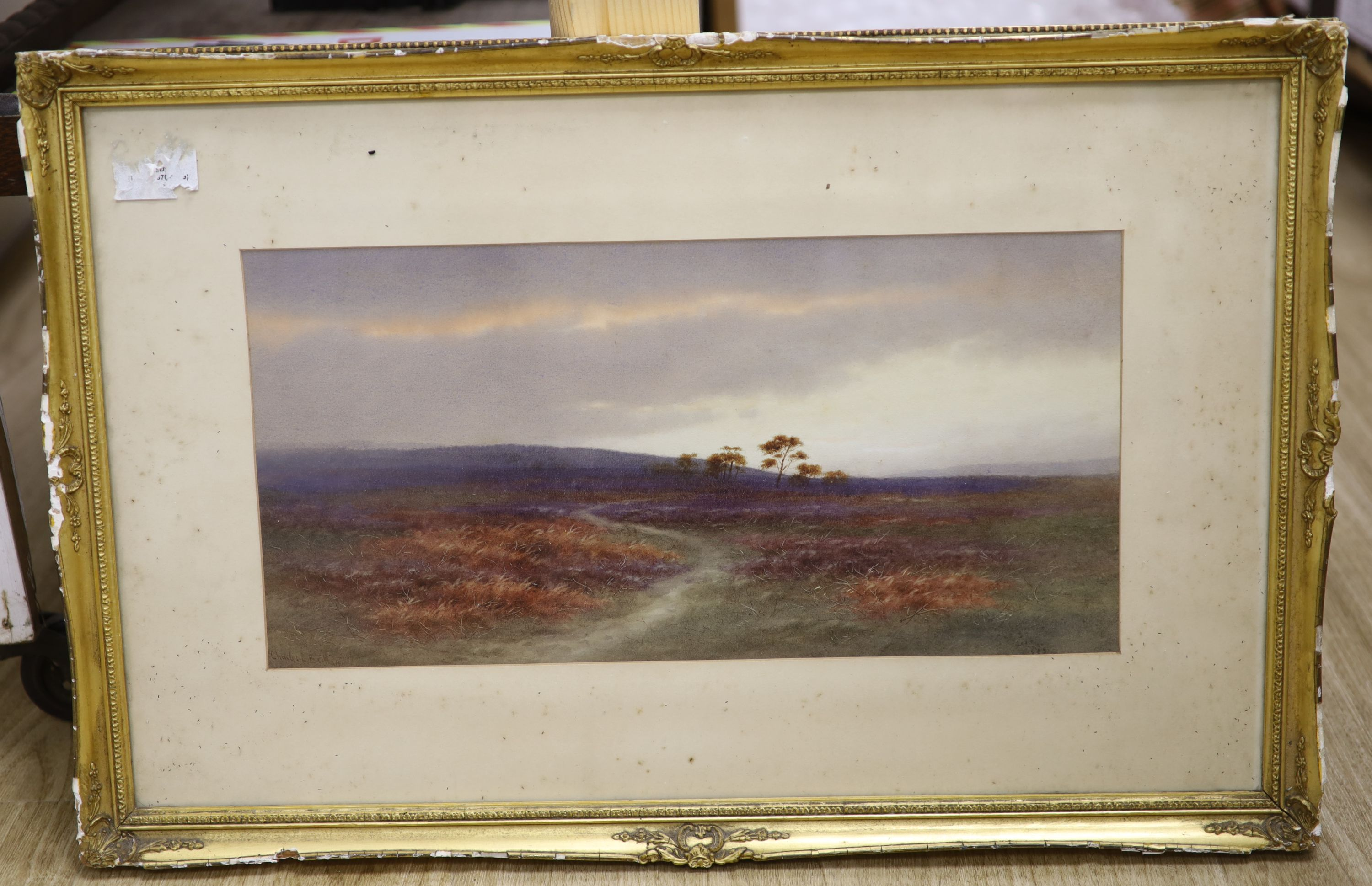 Charles Edward Brittan (1870-1949), watercolour, Moorland scene, 20 x 40cm signed, 7.75 x 15.75in. - Image 2 of 3