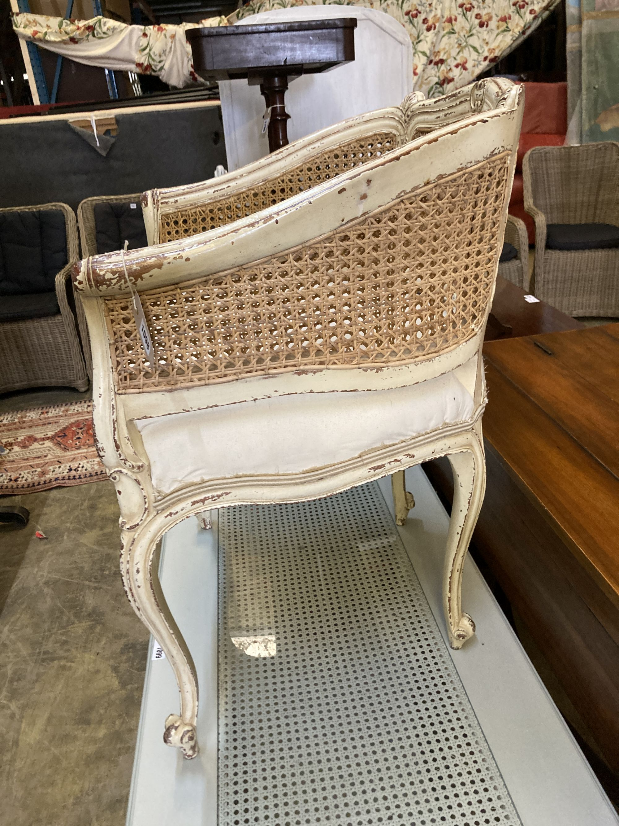 A Louis XVI style painted caned tub framed chair, width 62cm, depth 50cm, height 80cm - Image 3 of 4