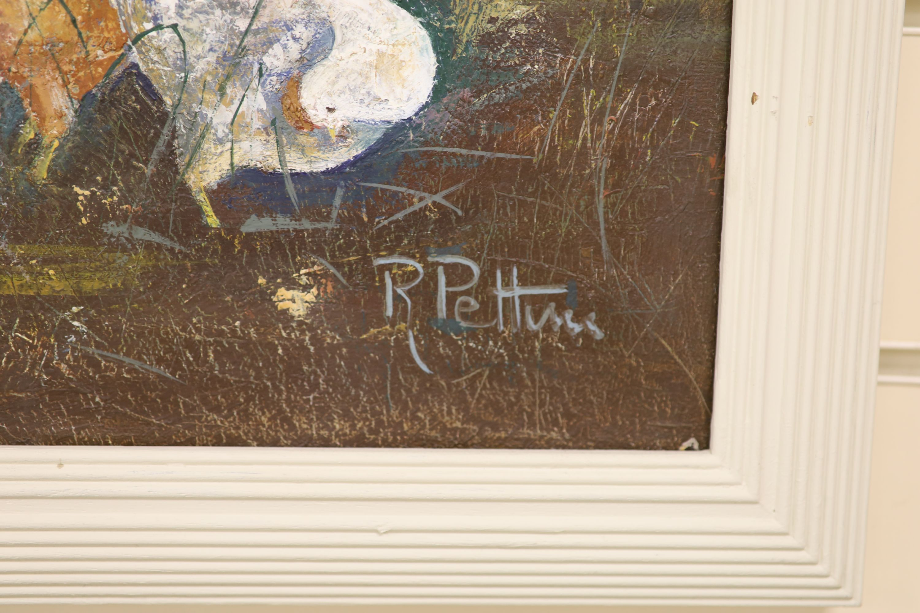R. Pettini, oil on canvas, Poultry beside a church door, signed, 59 x 49cm - Image 3 of 3