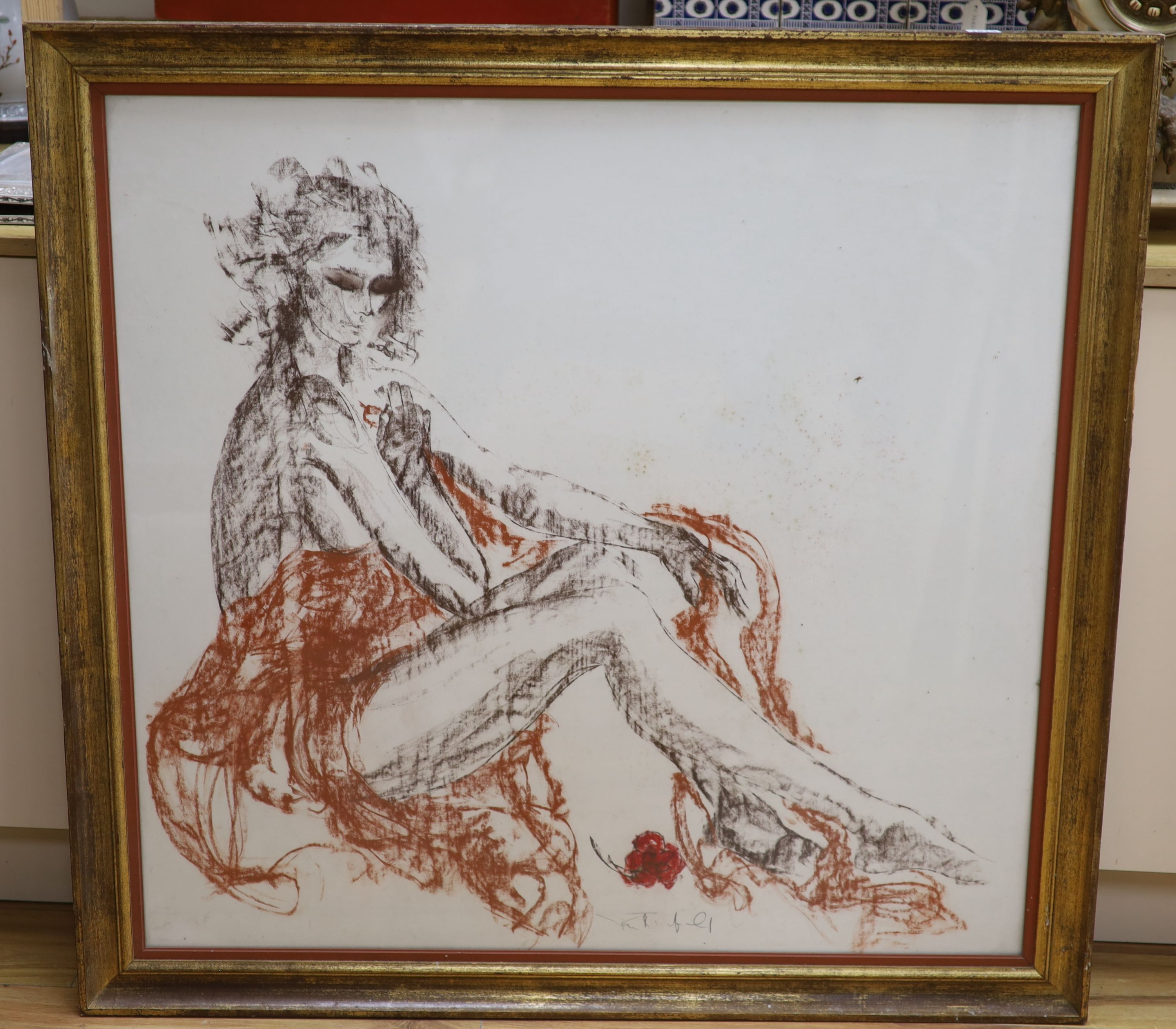 Tom Merrifield (1933-), coloured chalk, Study of a seated woman, signed, 92 x 95cmCONDITION: Some - Image 2 of 3
