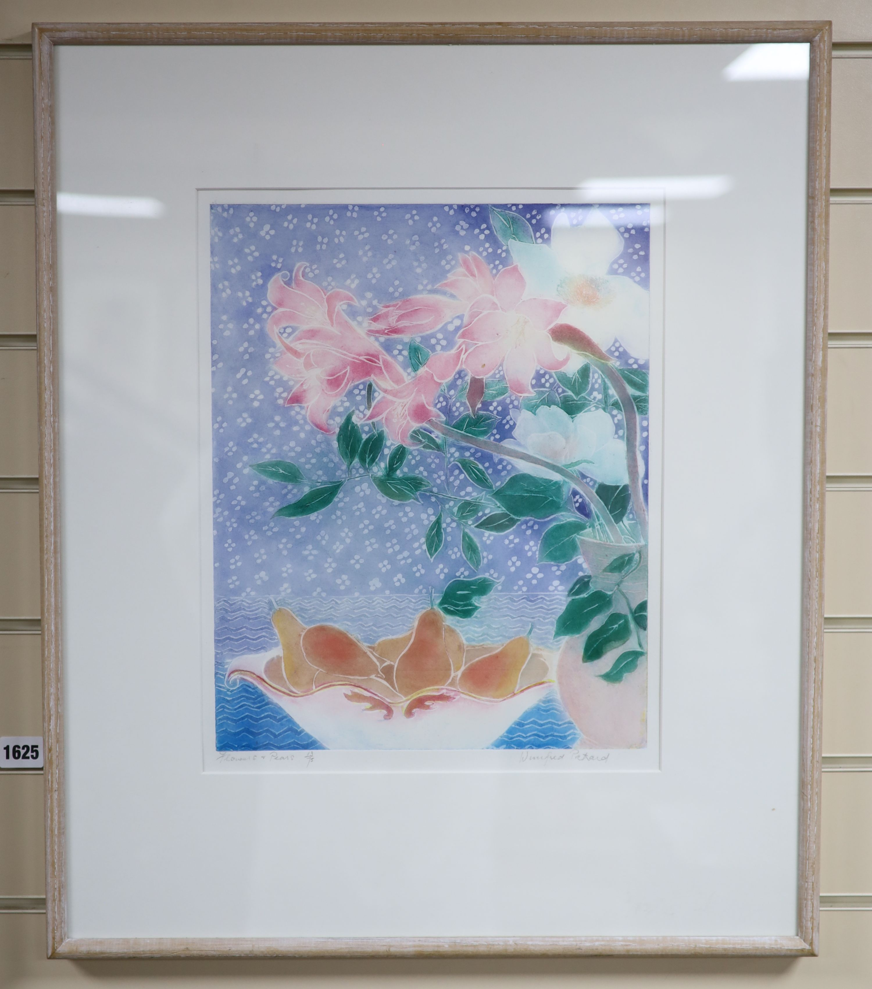 Winifred Pickard (1908-1996), limited edition print, Flowers and Pears, signed in pencil, 13/75, - Image 2 of 2