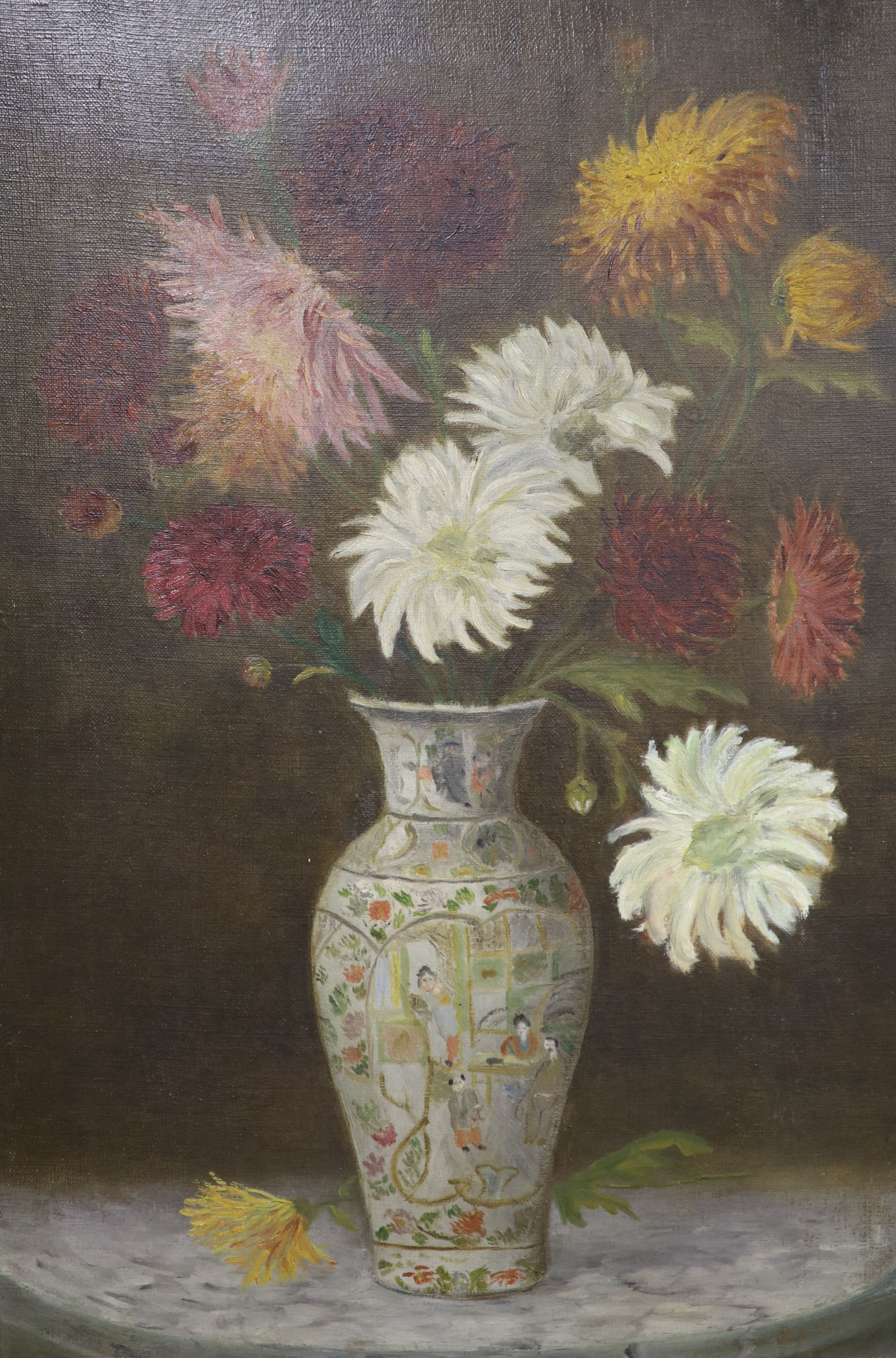 English school c.1900, three oils on canvas, Still life of flowers in a Chinese vase, 52 x 35cm, - Image 2 of 5