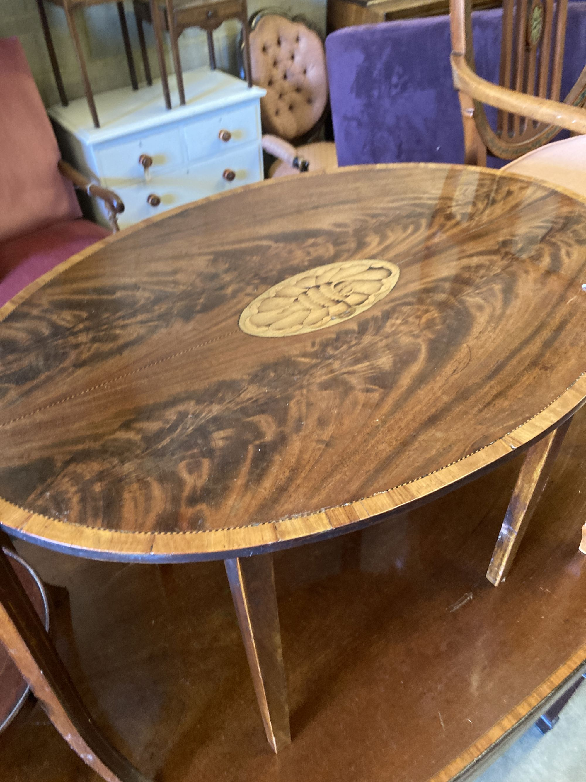 An oval marquetry inlaid mahogany occasional table, width 75cm, depth 52cm, height 50cm, together - Image 5 of 6