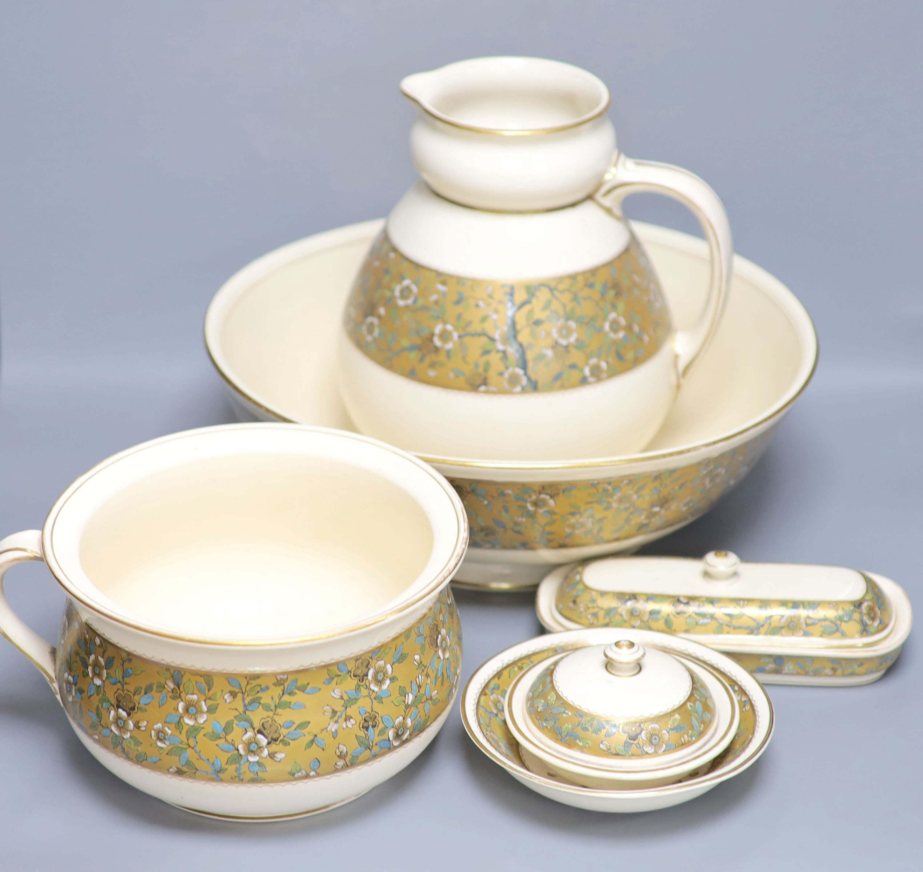 A Doulton Aesthetic period pottery washstand set, jug 27cm