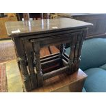 A nest of three 17th century style rectangular oak tea tables, width 61cm, depth 34cm, height 48cm