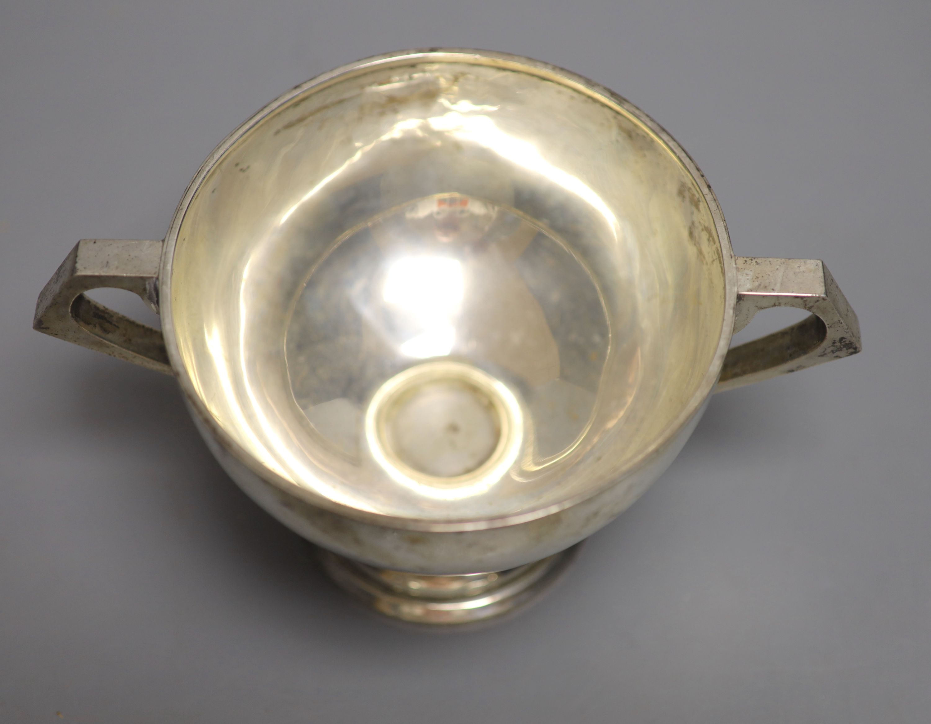 An Anglo-Indian silver two-handled pedestal rose bowl, marked C & K (Cooke & Kelvey), snake and SIL, - Image 2 of 3