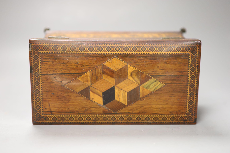 A Regency rosewood and Tunbridge ware inlaid tea caddy, length 22cm (locked) - Image 2 of 3