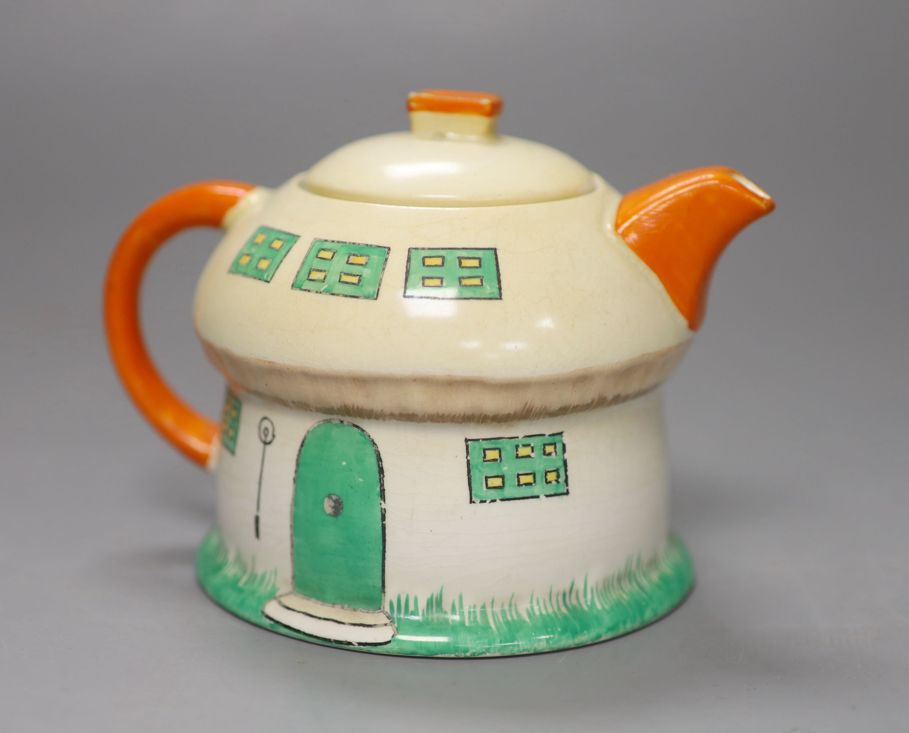 A Shelley Mabel Lucie Attwell toadstool teapot, height 11cmCONDITION: Neck rim flange very small