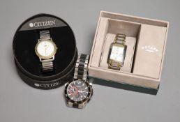 Three gentleman's assorted modern wrist watches, Sekonda, Rotary and SAS quartz.