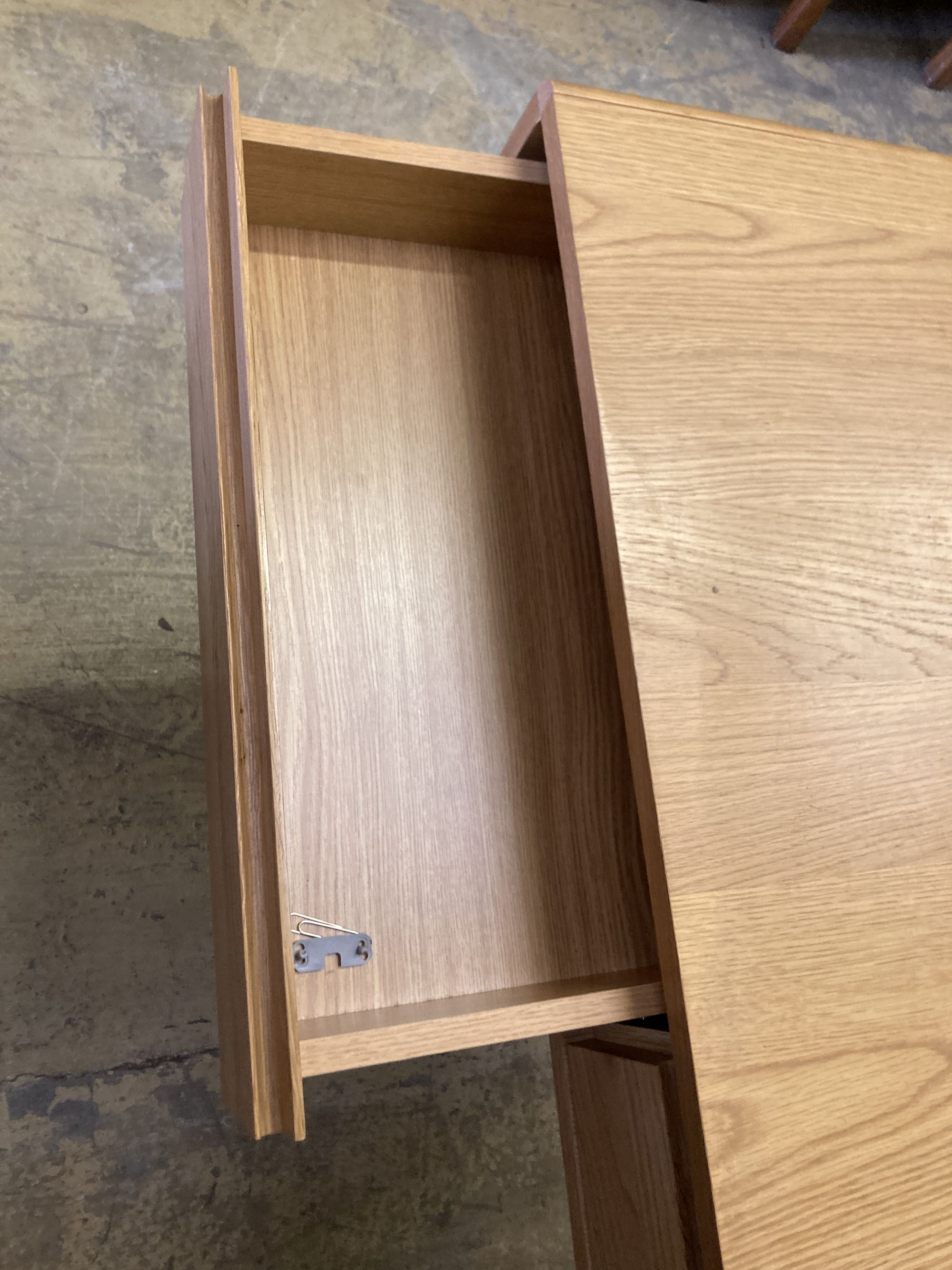 A contemporary oak two drawer side table, width 110cm, depth 35cm, height 79cm - Image 4 of 4