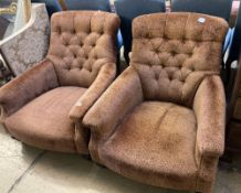 A pair of Sankey buttoned armchairs, width 80cm depth 108cm height 82cm