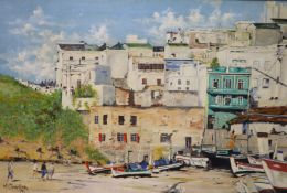 M. Chandler, oil on canvas, 'Albufeira, Algarve, Portugal', signed and dated '74, 50 x 75cm