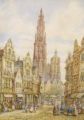 Henry Schafer (1833-1916), watercolour, 'Antwerp, Belgium', signed, 46 x 35cm