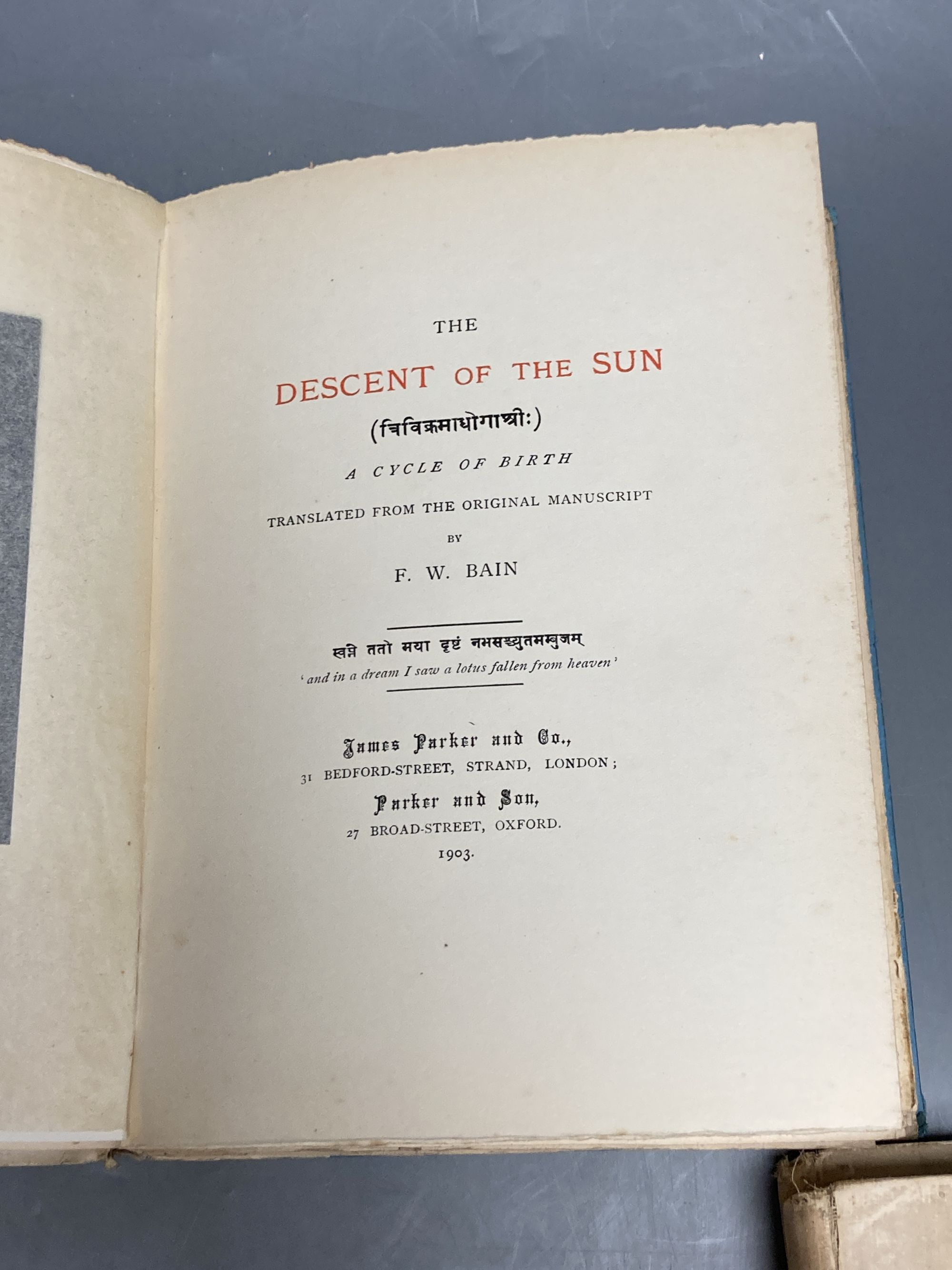 Three volumes F W Bain, Heifer of The Dawn, Digit of The Moon, Descent of The Sun - Image 2 of 2