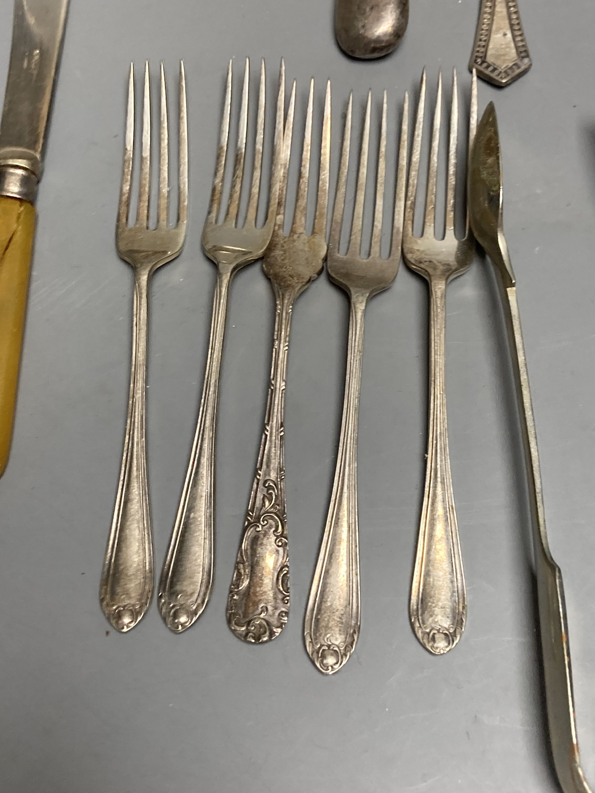 Four silver condiments, two silver thimbles, two Indian? salts and assorted plated flatware etc. - Image 5 of 6