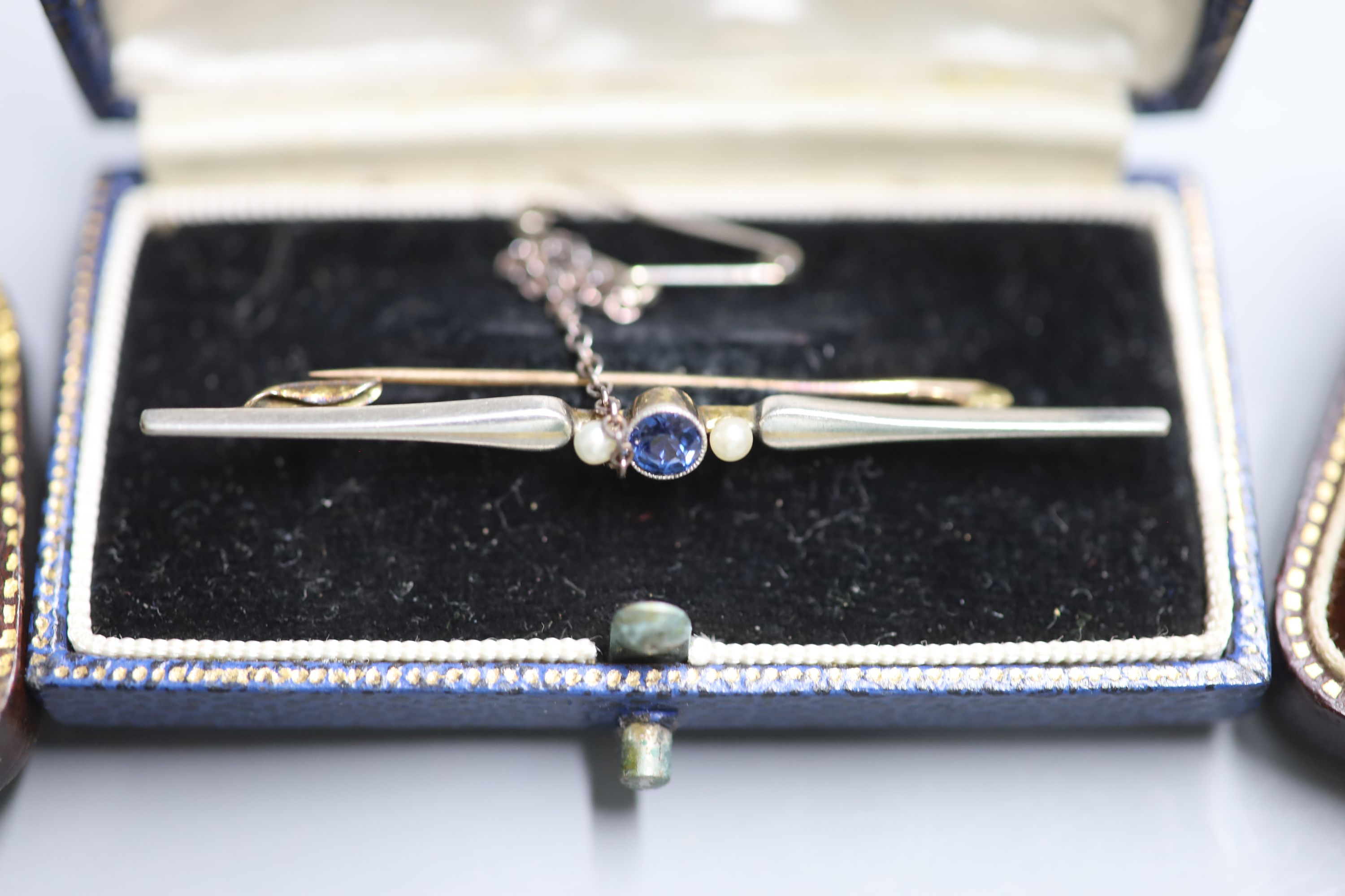 Three assorted Edwardian and later yellow metal bar brooches including a sapphire and seed pearl, - Image 3 of 4