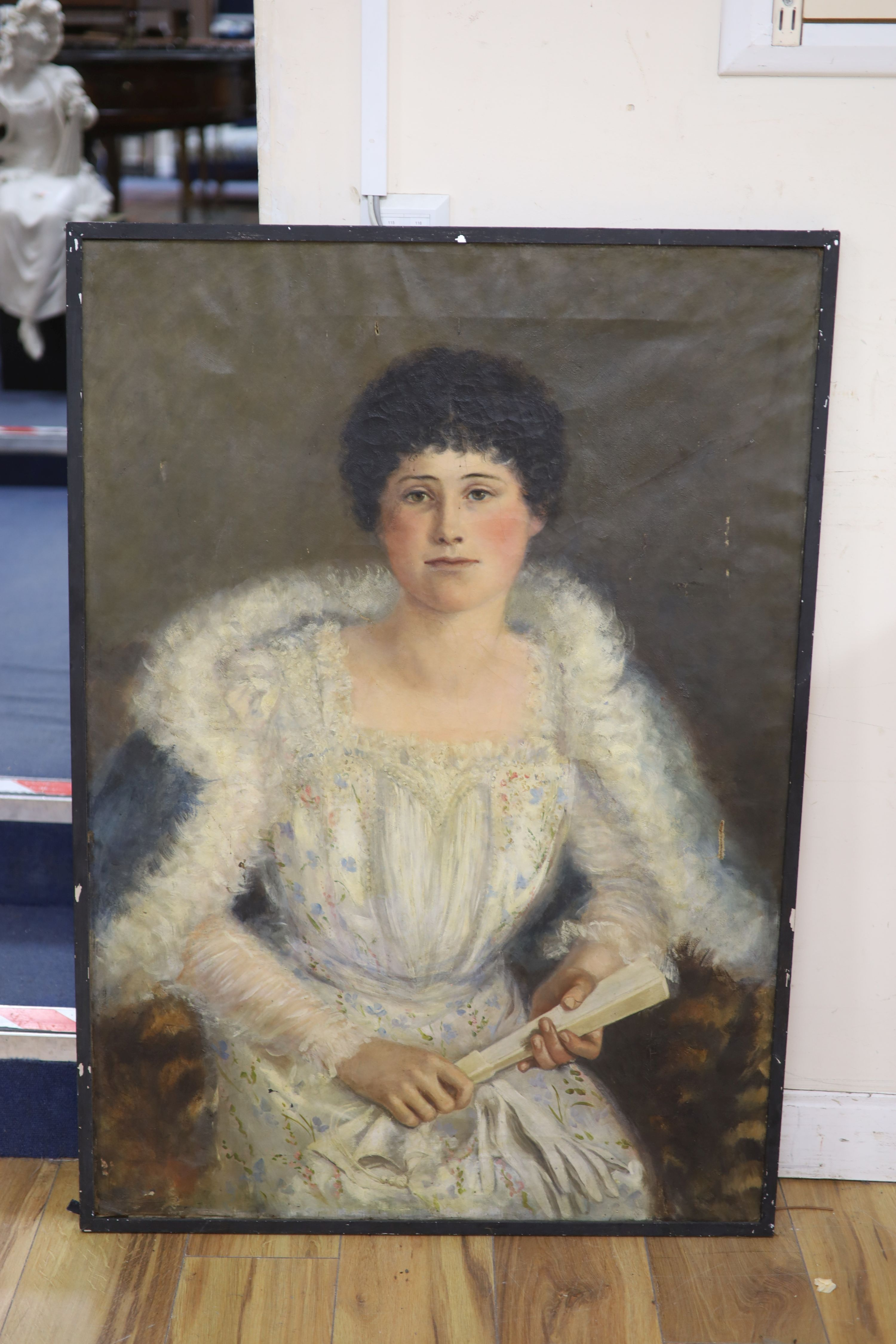 Circle of William Oliver (1823-1901), oil on canvas, Portrait of Rosalie Dennis, inscribed verso and - Image 2 of 2