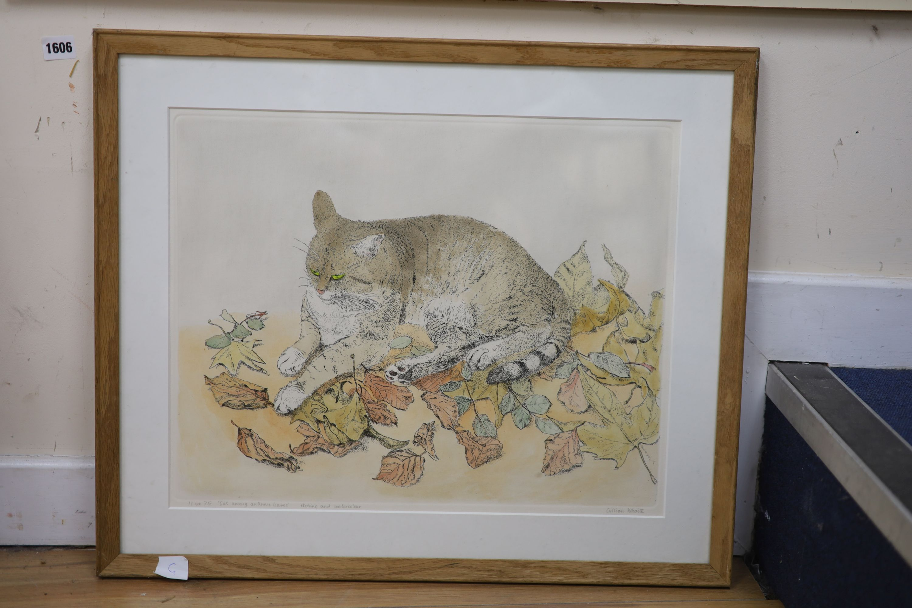 Gillian Whaite (1934-), etching and watercolour, Cat among autumn leaves, signed, 11/75, 40 x 50cm - Image 2 of 2