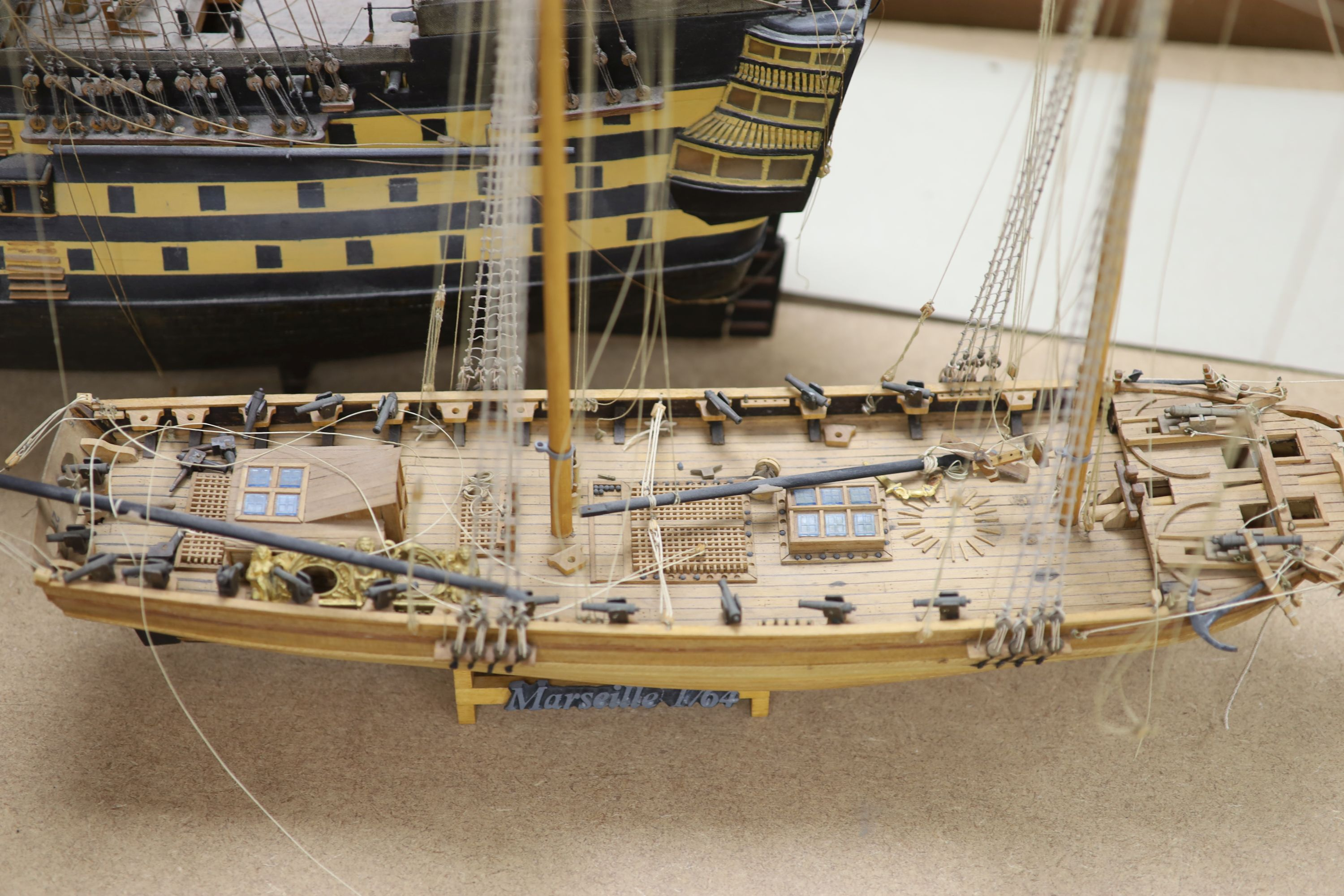 A model of 'The Victory', width 90cm, and a model of 'The Marseille' - Image 3 of 8