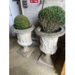 A pair of reconstituted stone campana shaped garden urns, diameter 60cm, height 90cm