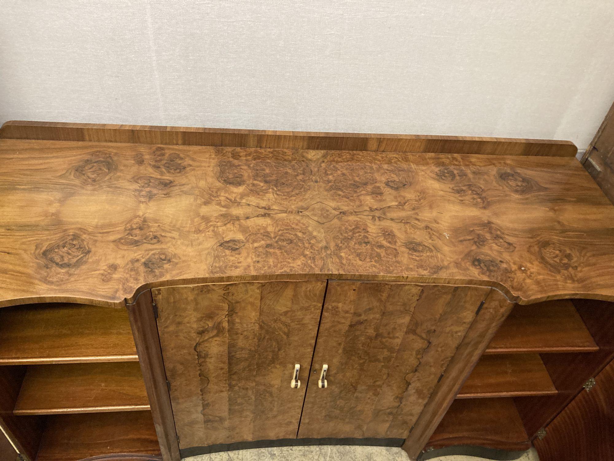 An Art Deco figured walnut sideboard, width 168cm depth 58cm height 98cm - Image 3 of 3
