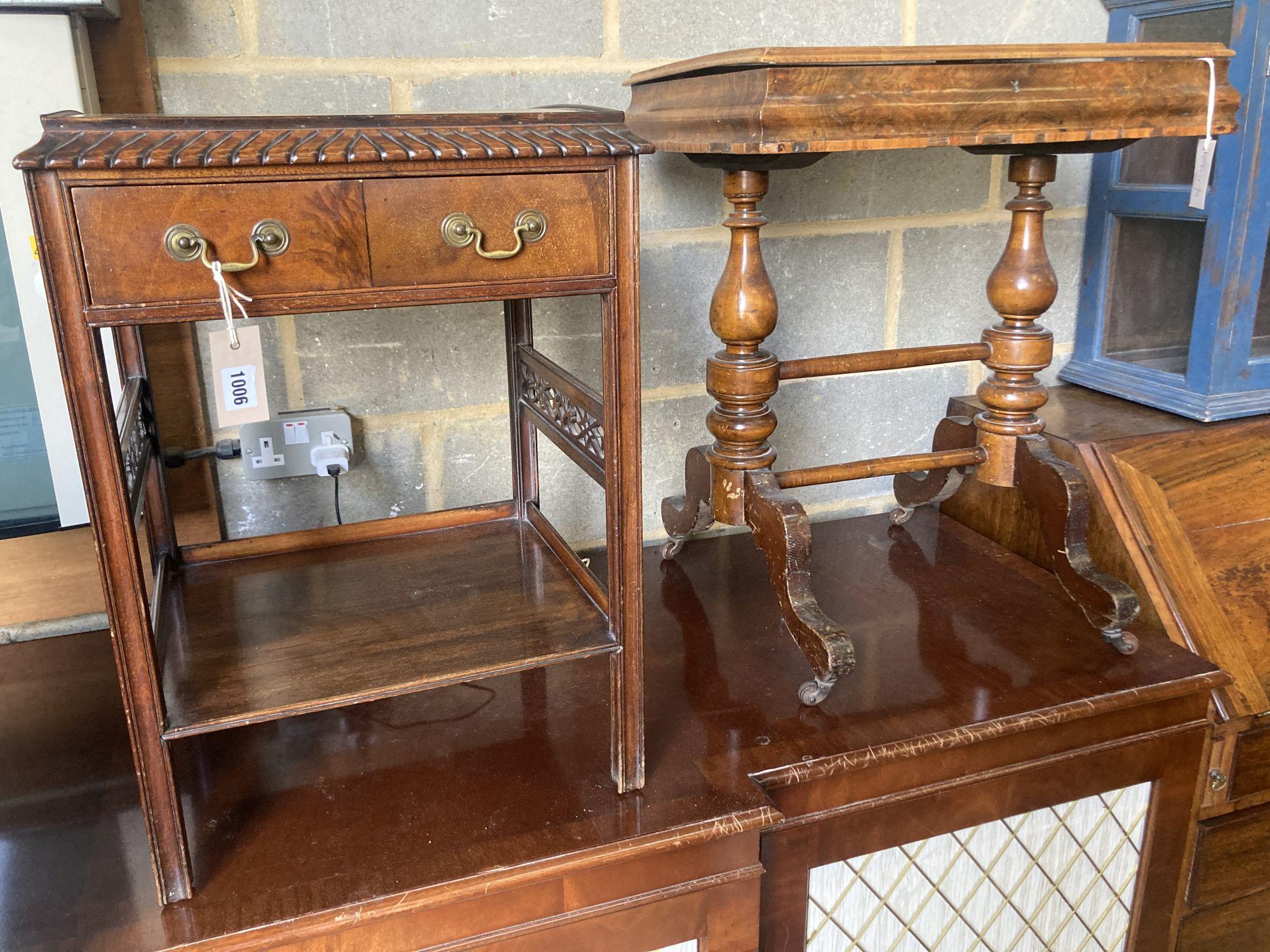 A Victorian burr walnut work table, width 56cm, depth 41cm, height 69cm, together with a Georgian