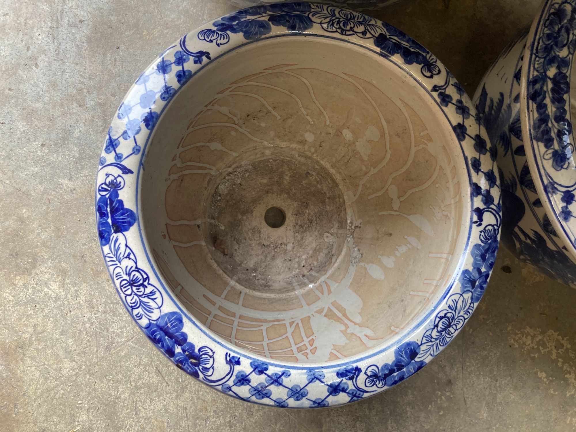 A graduated set of six Chinese style blue and white circular planters, largest width 70cm, height - Image 4 of 6