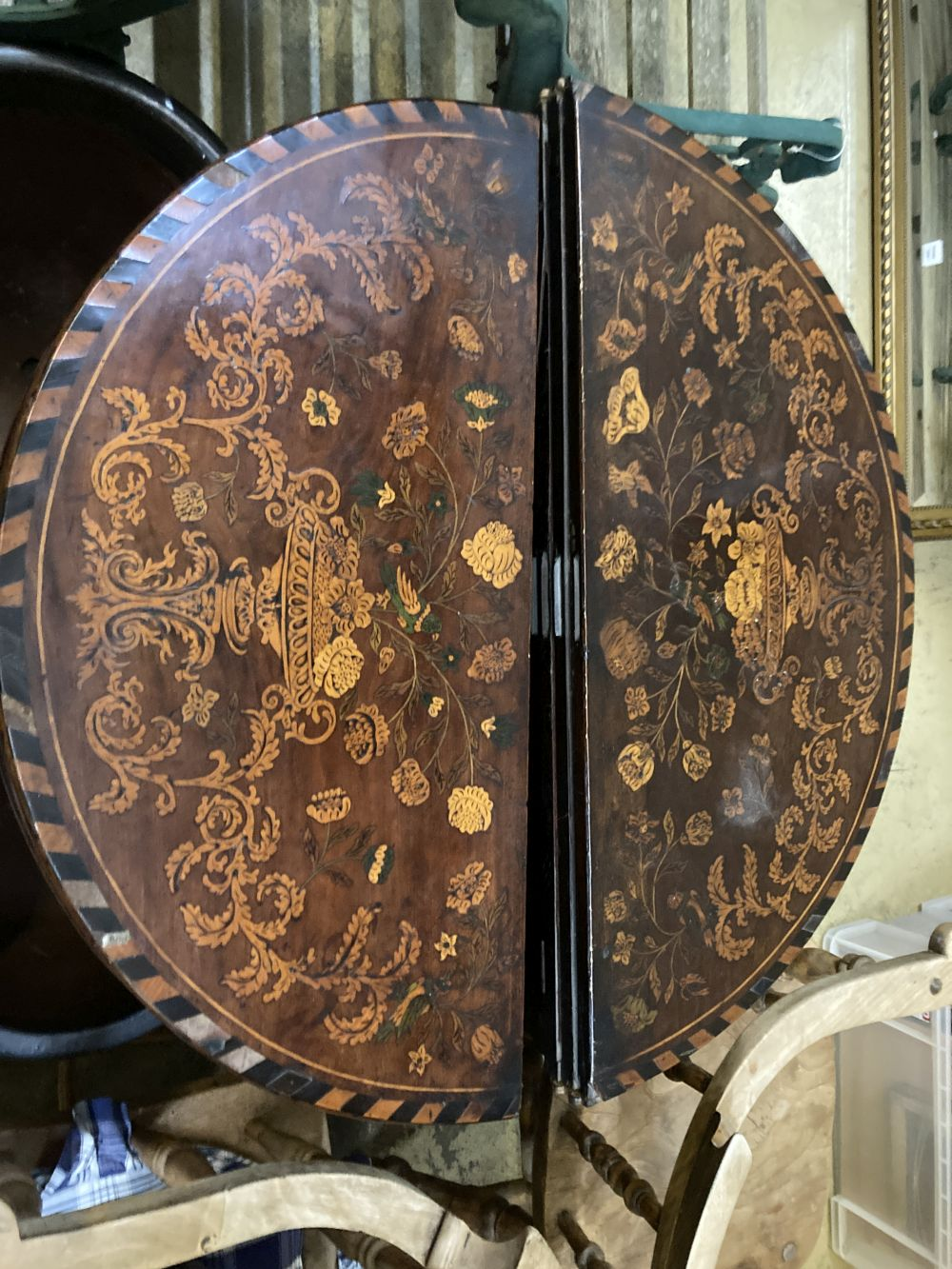 A near pair of 18th century Dutch floral marquetry walnut triple folding tea and card tables, larger - Image 2 of 7